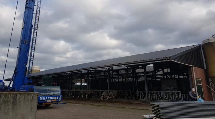 Nieuw dak op grote stal